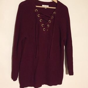 Active USA Sweater Lace Front Knit L Burgundy